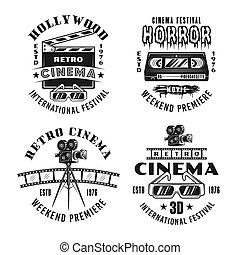 ensemble, cinéma, quatre, films, emblèmes, vecteur, retro