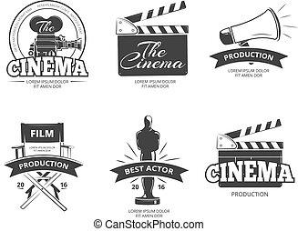 ensemble, cinéma, vendange, étiquettes, vecteur, emblèmes, insignes