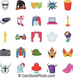 ensemble, cinématographie, style, dessin animé, icônes