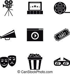 ensemble, cinématographie, style, icônes simples