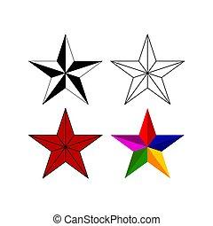 ensemble, cinq-pointu, étoiles, classique