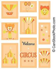 ensemble, cirque, -, icône