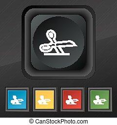 ensemble, ciseaux, symbole., texture, coloré, boutons, vecteur, noir, élégant, cinq, icône, ton, design.