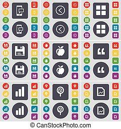 ensemble, citation, fichier, gauche, sucette, ton, design., plat, graphique, pomme, boutons, icône, disquette, symbole., apps, sms, diagramme, coloré, marque, grand, vecteur, flèche