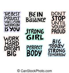 ensemble, citations, fitness, sur, main, lettrage, healthy.