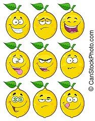 ensemble, citron, caractère, type caractère jaune, fruit, collection, 2., dessin animé, emoji