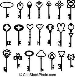 ensemble, clés, vendange, collection, silhouettes, vecteur, retro