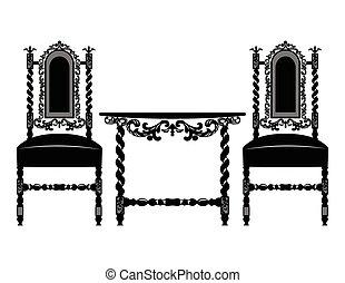 ensemble, classique, orné, meubles