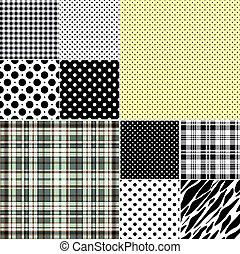 ensemble, classique, (vector), grand, seamless, motifs