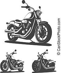 ensemble, classique, vendange, isolé, motocyclette, vector., vue., côté
