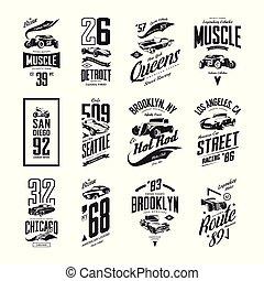 ensemble, classique, vendange, roadster, tige, isolé, t-shirt, chaud, vecteur, voiture, logo, muscle