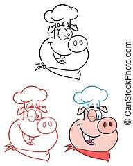 ensemble, cligner, character., collection, figure, chef cuistot, cochon, dessin animé, mascotte