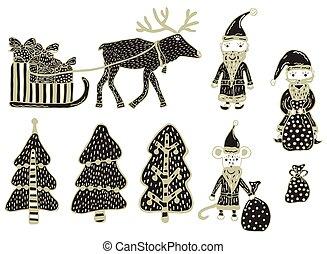 ensemble, clipart., arbres, cerf, rat, dons, année, harnessed, arrière-plan., 3, 2, vector., dessiné, noël blanc, claus, claus, main, dons, santa, nouveau, sac, traîneau