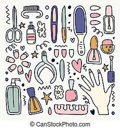 ensemble, clipart, manicur, vecteur, outils, ton, design.
