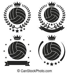 ensemble, club, vendange, volley-ball, étiquette, écusson