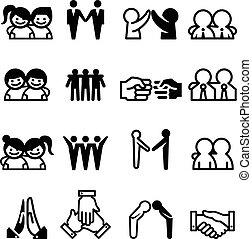 ensemble, coéquipier, relation, collaboration, amitié, ami, icône