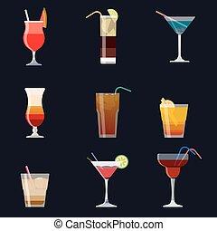 ensemble, cocktail, alcoolique, set., isolé, cocktails, arrière-plan., vecteur, noir