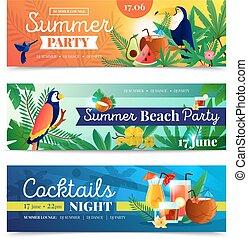ensemble, cocktail, exotique, fête, bannières, plage