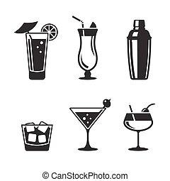 ensemble, cocktail, icônes