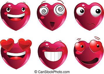 ensemble, coeur, emoticons, forme
