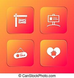 ensemble, coeur, signe, vendu, vente, pendre, maison, maison, forme, icon., vecteur, ouvert