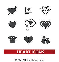 ensemble, coeur, vecteur, icônes
