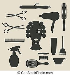 ensemble, coiffeur, icônes