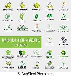 ensemble, collection, élément, environnement, téléchargement, logo, agriculture, logo, icône