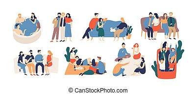 ensemble., collection, équitation, jeu, coloré, pique-nique, dépenser, jeune, vecteur, style., illustration, lunch., jouer, hommes, dessin animé, plat, caboteur, paquet, rouleau, conversation, temps, avoir, femmes, amis
