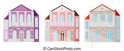 ensemble, collection, de, coloré, architecture, façade, maisons, bâtiments, vector., pastel, rose