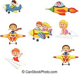 ensemble, collection, dessin animé, avion, jouets, jouer, enfants