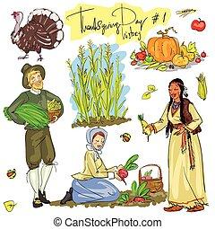 ensemble, collection., thanksgiving, main, dessiné, jour, 1.