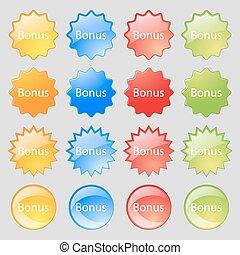 ensemble, coloré, 16, bonification, grand, offre, moderne, signe, boutons, vecteur, label., icon., ton, spécial, design.