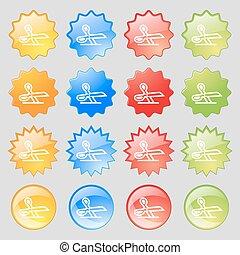 ensemble, coloré, 16, grand, signe., moderne, boutons, vecteur, ciseaux, icône, ton, design.