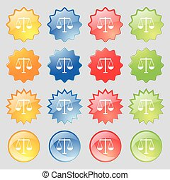 ensemble, coloré, 16, justice, grand, signe., balances, moderne, boutons, vecteur, icône, ton, design.