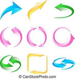 ensemble, coloré, arrows.