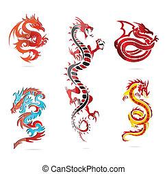 ensemble, coloré, asie, signe, verre, chaud, dragon