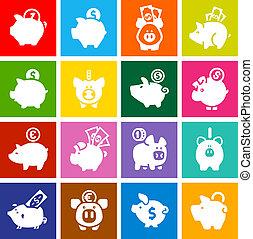 ensemble, coloré, banque, icônes, porcin, blanc, carrés