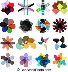 ensemble, coloré, business, résumé, géométrique, icône