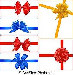 ensemble, coloré, cadeau, grand, arcs, vector., ribbons.