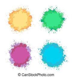 ensemble, coloré, cadre, text., élément, aquarelle, eclabousse, vecteur, endroit, conception, ton