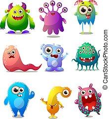ensemble, coloré, caractère, déguisement, comique, monstres,...