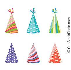 ensemble, coloré, chapeaux, isolé, fond, fête, blanc