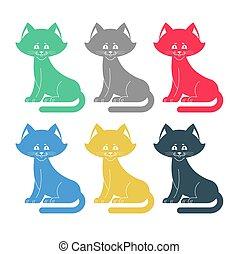 ensemble, coloré, chouchou, collection., multicolore, chats, icon.