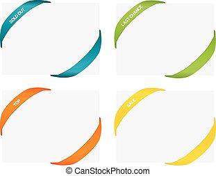 ensemble, coloré, coins, isolé, caoutchouc, 4, appelé, bandes