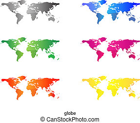 ensemble, -, coloré, continents