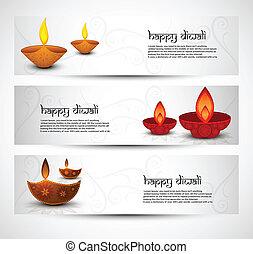 ensemble, coloré, diwali, illustration, en-têtes, vecteur, heureux
