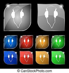 ensemble, coloré, dix, signe., écouteurs, boutons, vecteur, icône, glare.