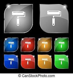 ensemble, coloré, dix, signe., glare., boutons, peinture, vecteur, rouleau, icône