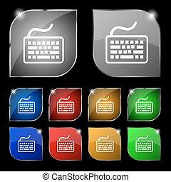 ensemble, coloré, dix, signe., glare., boutons, vecteur, clavier, icône